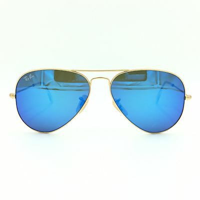 New Ray-Ban RB3025 112/17 Gold Aviator Sunglasses Blue Mirrored Lens 58mm