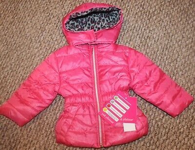 New! Girls Pink Platinum Hoodie Puffer Jacket (Fleece;Full Zip; Pink) Size 12 mo