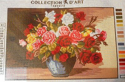 ROSES IN VASE - Tapestry/Needlepoint to Stitch (NEW) by COLLECTION D'ART