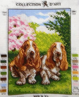 TWO BASSETS (DOGS) - Tapestry Canvas (New) by COLLECTION D'ART