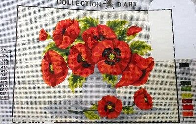 VASE OF RED POPPIES - Tapestry to Stitch (NEW) from Collection D'Art