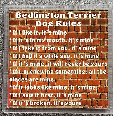 BEDLINGTON TERRIER DOG RULES - IF I LIKE IT IT'S MINE Mug/Cup Coaster Ideal Gift