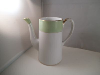 Vintage Hand Painted Nippon Japan Green Rim Coffee Hot Chocolate Pot