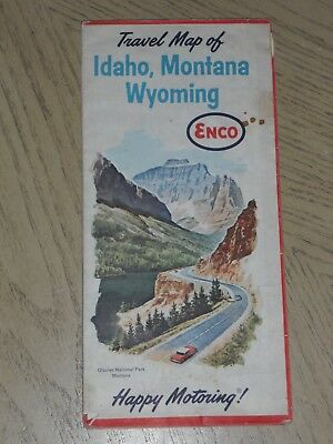 1963 Enco Humble Oil Idaho Montana Wyoming State Highway Road Map Butte Cheyenne