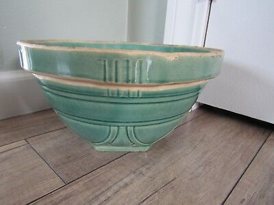 Vintage Green Pottery Mixing Bowl USA #10