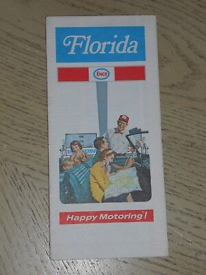 EX VINTAGE 1971 Enco Humble Oil Florida State Highway Road Map Miami Palm Beach