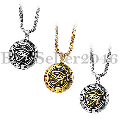 Men Stainless Steel Egyptian Pharaohs Eye of Horus Ra Udjat Pendant Necklace 22""