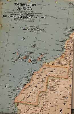1966 National Geographic Map of Northwestern Africa