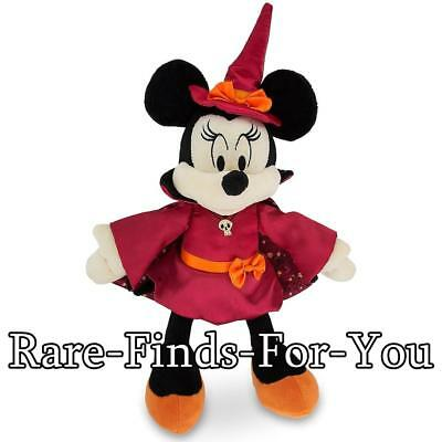 """Disney Theme Parks Minnie Mouse Witch Halloween Plush Doll Toy 11"""" H (NEW/TAGS)"""