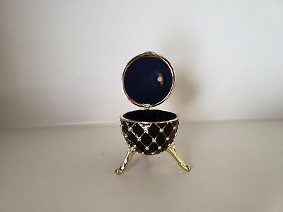 Faberge Egg Black with Stones And Music