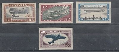 LATVIA 1933 AIRMANS FUND Zeppelin Etc...SET IMPERF MVLH High Cat $370+