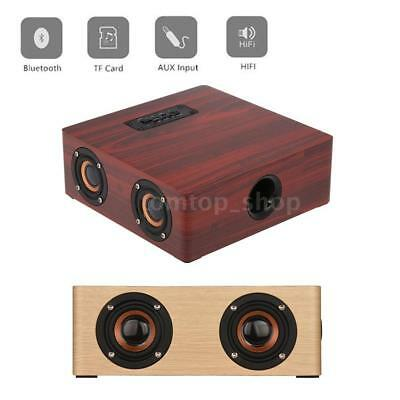 Portable Wooden Wireless Bluetooth Stereo Speaker FM AUX TF MP3 Player 12W S8F7