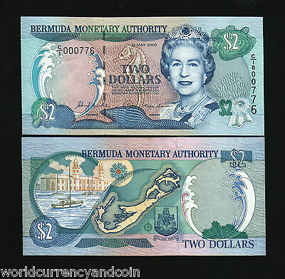Bermuda 2 Dollars P50 2000 Millennium Map Boat Horse Unc Caribbean Money Note
