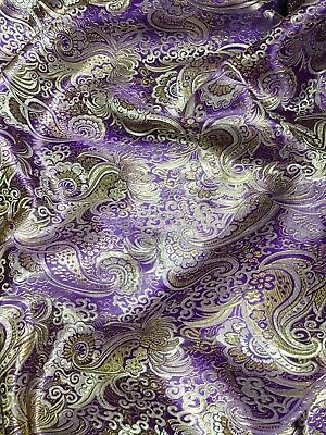 2a40483b4 Purple & Gold Paisley Metallic Brocade Fabric Material Waistcoat Jacket  Suit BTY