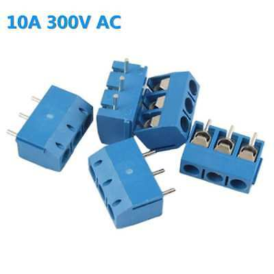 10Pcs 3 Way 3P PCB Mount Screw Terminal Block Connector 5.08mm Pitch Blue