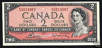 Canada 2 Dollars P76 C 1954 Young Queen Unc Rasminsky / Bouey Sign Bank Note