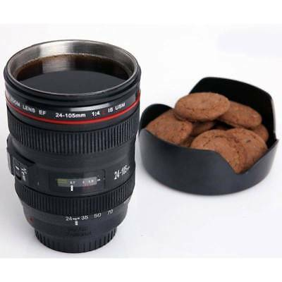 Black Camera Lens Shaped As Canon EF 24-105mm Coffee Mug Cup With Drinking Lid