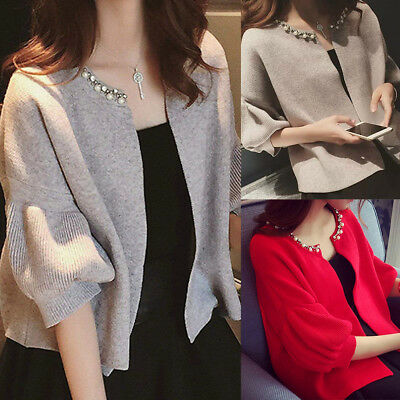 Women's Spring Casual Knitted Cardigan Sweater Coat Jacket Outwear Knitwear AU