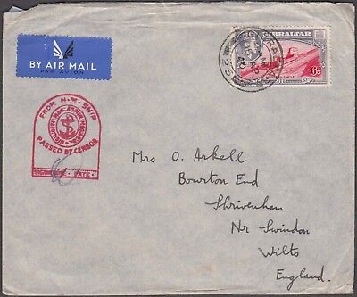 Gibraltar 1940 Wwii Hm Ship Red Censor Army Lieut Airmail Cover To England