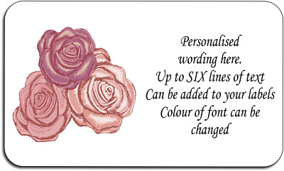 Roses Flower Style Mini Personalised Labels with FREE protective wallet