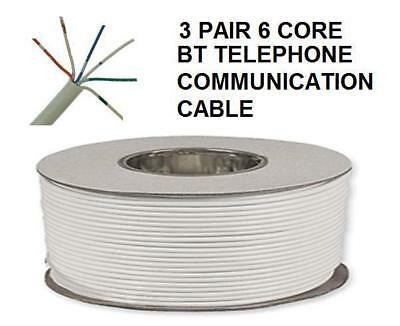 100m BT Telephone Cable Wire 3 Pair 6 Core 100 metre White Drum Reel Phone NEW