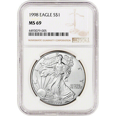 1998 American Silver Eagle - NGC MS69 - NGC Large Label