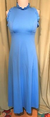Sexy Vintage 70's Frederick's of Hollywood Blue Halter Maxi Dress Bust 32