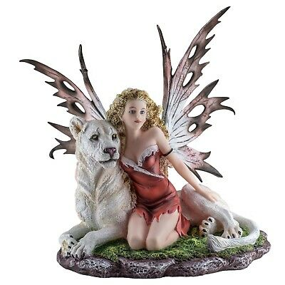 """Red Fairy With White Lion Figurine Statue 12.25"""" High New In Box"""