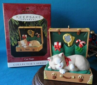 Hallmark Ornament  1997 Cat Naps 4th in Series Cat in a Suitcase Kitten