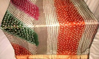 Multi-color Pure Silk 4 yard Vintage Sari Saree SALE DEAL BARGAIN Project #9BC0K