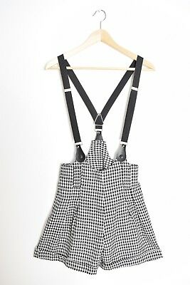 vintage 80s suspender shorts black and white houndstooth high waisted XS S