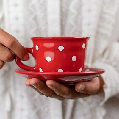 Handmade Red & White Polka Dot Ceramic Cappuccino Coffee Tea Cup & Saucer
