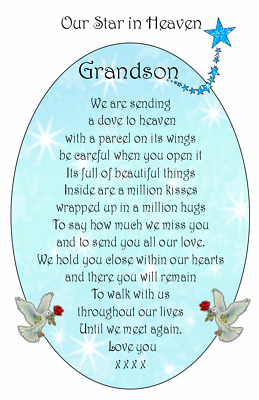 A+ DAD SON BROTHER Male Bereavement Graveside Memorial Keepsake  Card M03
