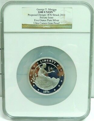 George T. Morgan $100 5 Oz Silver Ultra Cameo Gem Proof NGC Estate Find - Z RP