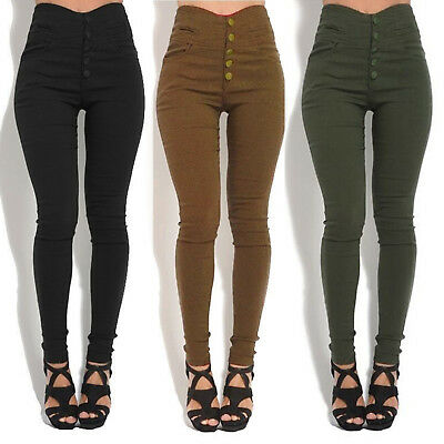 Womens High Waisted Pencil Pants Skinny Slim Fit Jeans Stretchy Trousers Legging