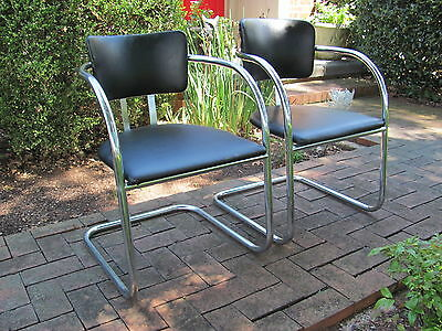 Pair of Vintage Mid Century Modern Lounge Chairs Bauhaus Style Chrome