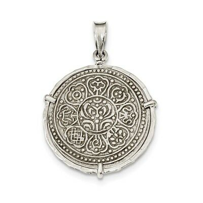 .925 Sterling Silver Antiqued Tibet Tanka Coin Reversible Pendant Ancient Coin