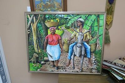 """Signed Carby 1992 Oil on Canvas Painting 24"""" x 30"""" - 25"""" x 32"""" Frame Jamaican"""