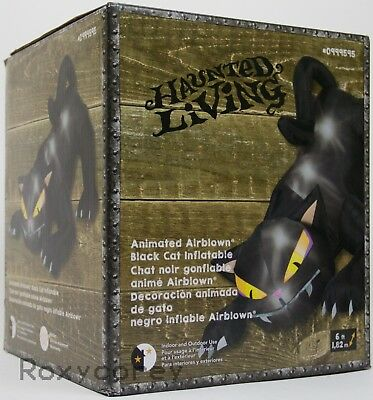 Halloween Gemmy 6 ft Black Cat Head Moves Airblown Inflatable NIB