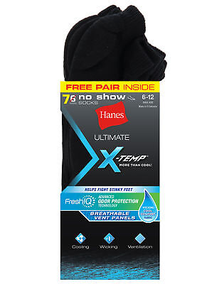 Hanes Ultimate  X-Temp FreshIQ Men's No Show Black 7-Pack (1 Free Bonus Pair)