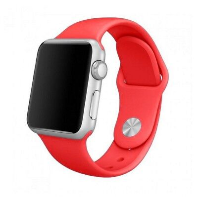 Para Apple Watch 42mm Series 1 2 3 Recambio Correa reloj silicona Roja