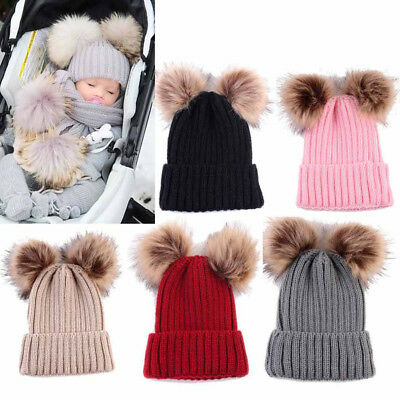 Newborn Toddler Baby Girls Boys Hats Warm Winter Knitted Wool Hemming Hat Cap KI