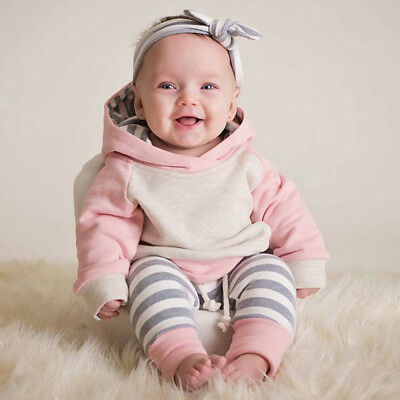 Toddler Baby Girls Winter Outfits Clothes Hoodie Tops+Pants+Headband 3PCS Set KI