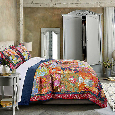 Bohemian Patch Work King Quilt Set 3pc Sham Bed Room