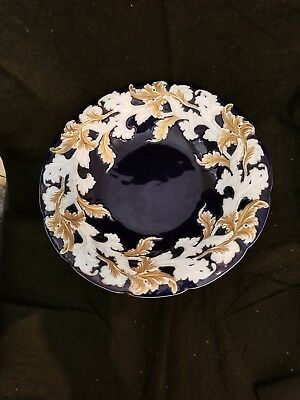 Antique Meissen Porcelain Cobalt Blue Gold Tall Compote Cake Stand