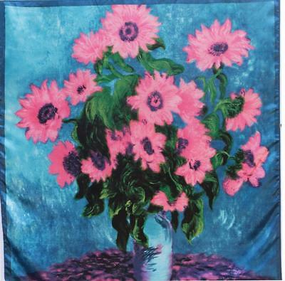 SCARF Lg Square Turquoise Coral Pink Blue Border SUNFLOWERS DAISY PAINTING