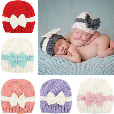 Newborn Baby Girl Boy Infant Toddler Bow Knit Crochet Hat Winter Warm Beanie KY