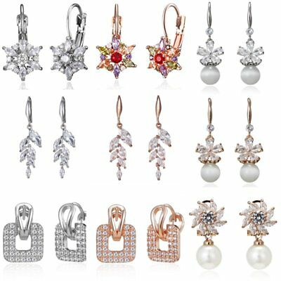 Fashion Zircon Crystal Flower Tassels Women Ear Drop Dangle Earrings Jewelry New