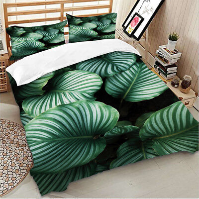 Green Leaves Doona/Quilt/Duvet Cover Set Single/Double/Queen/King Size Bed Cover