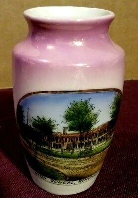 Vtg German Porcelain Souvenir Vase RENVILLE MINN HIGH SCHOOL for Wonder Store